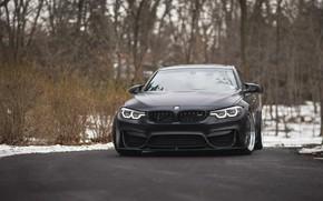 Picture BMW, Winter, Black, Snow, F80, Sight