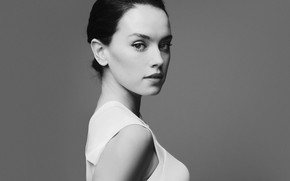 Picture look, girl, pose, black and white, Daisy Ridley