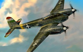 Picture Messerschmitt, Heavy fighter, The air force of Hungary, Me-210Ca-1, Me.210