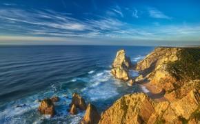 Picture the ocean, rocks, coast, Portugal, Portugal, The Atlantic ocean, Atlantic Ocean, Sintra, Sintra, Praia da …