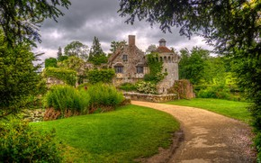 Picture road, the sky, clouds, trees, clouds, overcast, England, architecture, Scotney castle