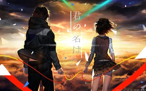 Picture sunset, anime, art, pair, the thread of fate, Kimi no VA On