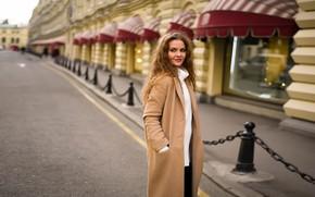 Picture look, girl, smile, hair, the building, coat, Dmitry Korolev, Anna Malkina