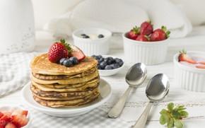Picture berries, food, Breakfast, pancakes