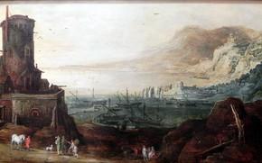 Picture Jan Brueghel, Port landscape fortifications, Joos DeMomper, 1610-1620