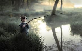 Picture nature, river, boy