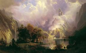 Picture mountains, vegetation, pond, Albert Bierstadt, Rocky Mountain