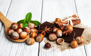 Picture chocolate, nuts, cinnamon, wood, Anis