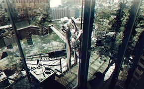 Picture water, trees, home, Hatsune Miku, VOCALOID