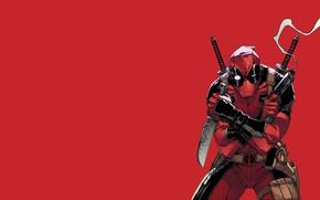 Picture Red, Gun, Smoke, Knife, Costume, Weapons, Red, Swords, Gun, Deadpool, Marvel, Deadpool, Smoke, Marvel Comics, …