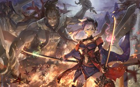 Picture girl, monster, sword, Fate / Grand Order, The destiny of a great campaign