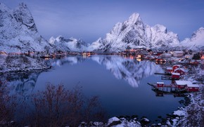Picture mountains, reflection, village, Norway, houses, Norway, the fjord, The Lofoten Islands, Lofoten Islands, Pure, The …