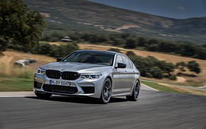 Picture grey, hills, vegetation, BMW, sedan, track, 4x4, 2018, four-door, M5, V8, F90, M5 Competition
