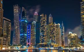 Picture building, home, Dubai, night city, Dubai, skyscrapers, harbour, UAE, UAE, Dubai Marina, Dubai Marina