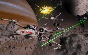 Picture star wars, StarWars Fan art, Miguel Iglesias, Asteroids Ambush