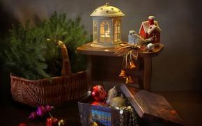 Picture branches, holiday, box, basket, toys, new year, spruce, lantern, house, bird, figure, composition, Kovaleva Svetlana, …