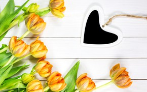 Picture love, flowers, heart, yellow, tulips, love, heart, yellow, wood, flowers, romantic, tulips, spring