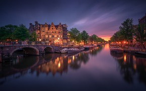 Picture transport, building, channel, twilight, Amsterdam - My Home