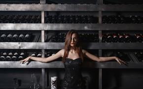 Picture wine, bottle, sponge, vintage wines, Sergeant Vyacheslav, girl and wine