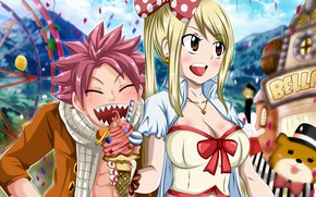 Picture ice cream, Fairy Tail, Natsu, Lucy, Fairy tail