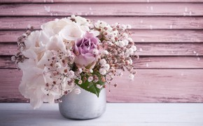 Picture flowers, bouquet, gentle, pink, hydrangeas, THE OFF
