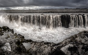 Picture clouds, couples, gloomy sky, shore, waterfalls, pond, Iceland, stream, rocks, stones