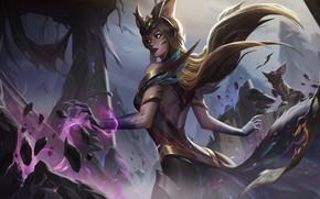 Picture girl, art, Ahri, League Of Legends