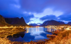Picture clouds, mountains, lights, home, the evening, Norway, Bay, piers, The Lofoten Islands, Pure