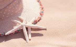 Picture sea, beach, Nature, hat, starfish
