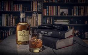 Picture glass, style, gun, books, bottle, still life, whiskey