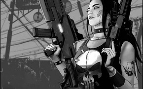 Picture Figure, Skull, Style, Girl, Weapons, Fantasy, Art, Punisher, Style, Marvel Comics, The Punisher, Cyber, Science …