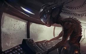 Picture UFO, alien, spaceship, control panel