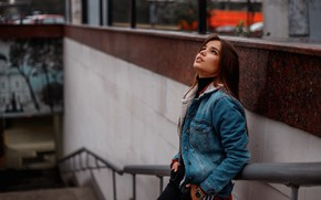 Picture pose, look, model, hair, Nikolay Rogozin, Anya Skuridina, denim jacket, Girl