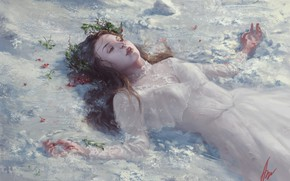 Picture girl, snow, fantasy, art, Aliona Day, Avalanches