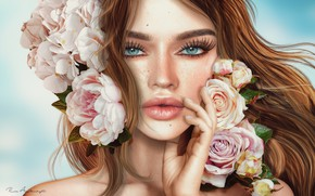 Picture girl, face, rendering, hair, lips