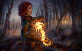 Wallpaper magic, profile, red, Triss Merigold, Triss Merigold, The Witcher 3: Wild Hunt, The Witcher 3: ...