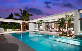 Picture palm trees, Villa, the evening, pool, architecture, terrace, by Choeff Levy Fischman Architecture+Design, Weston Residence