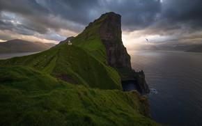 Picture landscape, sunset, clouds, nature, the ocean, rocks, lighthouse, Faroe Islands, The Faroe Islands, Kallur Lighthouse
