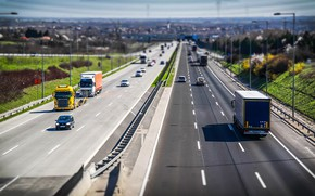 Picture road, the sun, machine, the city, movement, transport, highway, bokeh
