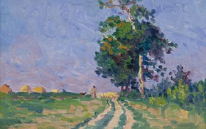 Picture landscape, picture, 1905, Fauvism, Maximilien Luce, Maximilien Luce, Shepherd with Flack on the Road in …