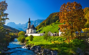 Wallpaper autumn, trees, mountains, river, Germany, Bayern, Church, Germany, Bavaria, Bavarian Alps, The Bavarian Alps, Ramsau, ...