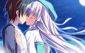 Picture kiss, pair, two, Angel Ring