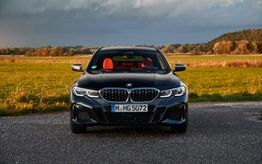 Picture black, BMW, front view, 3-series, universal, 3P, 2020, 2019, G21, M340i xDrive Touring