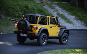 Picture asphalt, yellow, SUV, 4x4, Jeep, Mopar, 2019, Wrangler Rubicon 1941