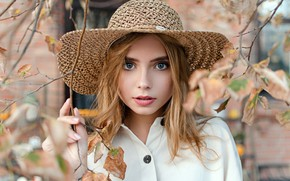 Picture autumn, look, leaves, branches, pose, model, portrait, hat, makeup, hairstyle, blouse, white, brown hair, beauty, …