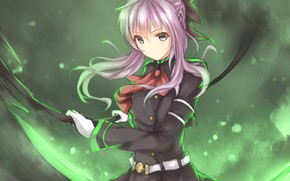 Picture girl, lights, weapons, braid, green light, Owari no Seraph, The last Seraphim