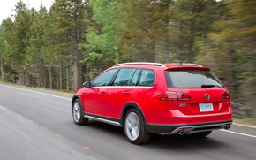 Picture road, red, Volkswagen, rear view, universal, 2017, Golf Alltrack