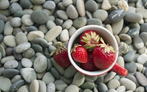 Picture berries, stones, strawberry, strawberry, berries, pebbles