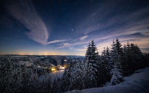 Picture winter, forest, the sky, stars, clouds, light, snow, landscape, mountains, night, lights, hills, height, ate, …