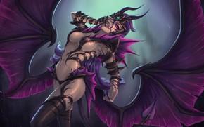 Picture chest, girl, wings, the demon, vampire, succubus, mara
